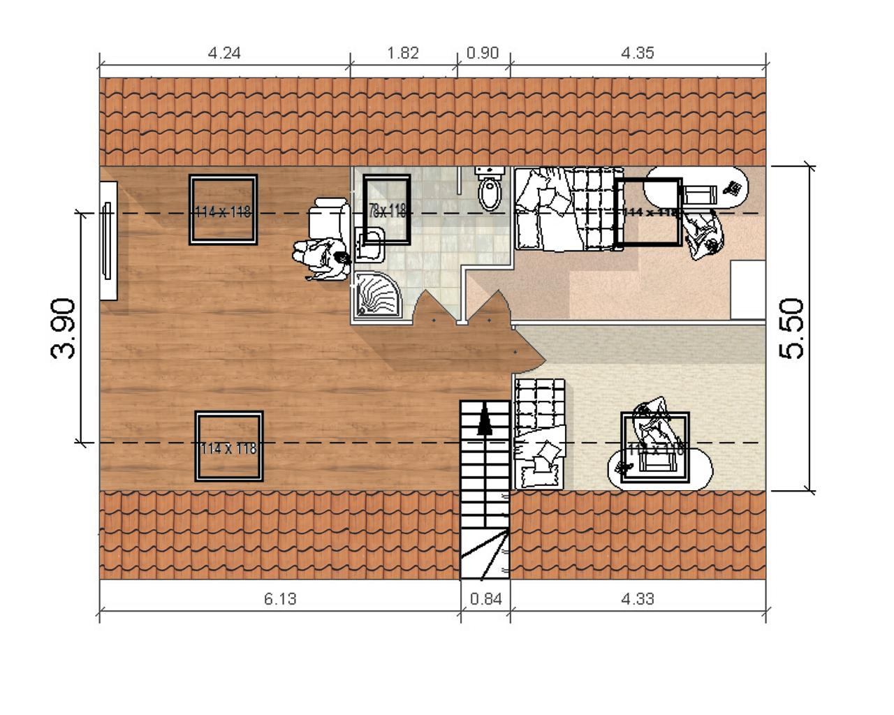 44 m de surface habitable gagn e dans les combles de for Plan de maison avec combles amenages